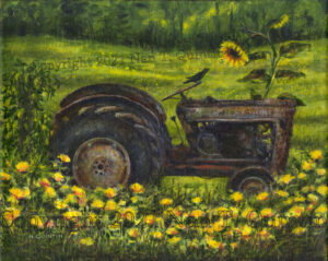 Tractor with Sunflower